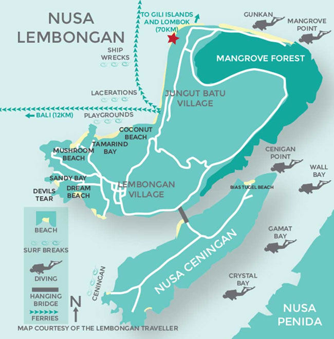 Map of Nusa Lembongan - Flores Dragon Tour